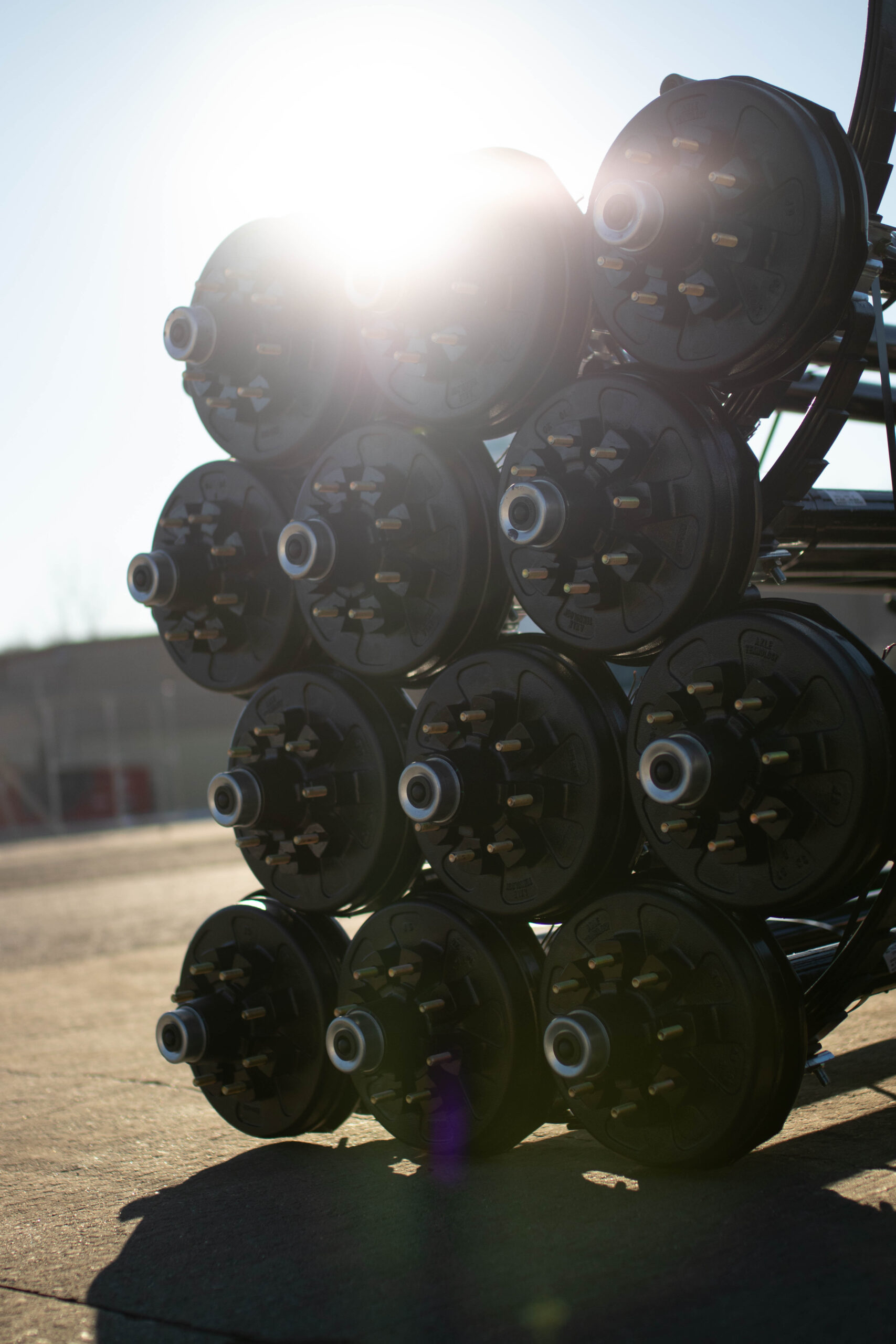 axis trailer axles stacked outside